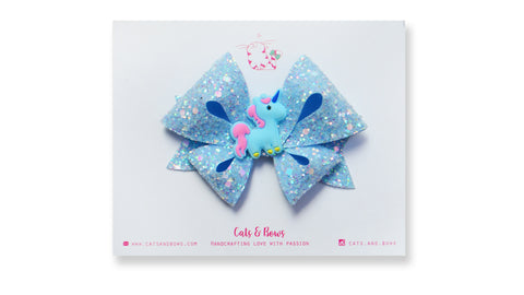 Sky Blue Unicorn Bow