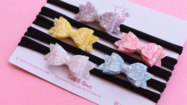 Pastel Glitter Mini Bow Set