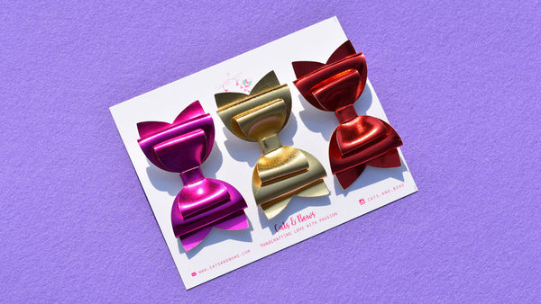 Metallic Love Set of 3 Bows