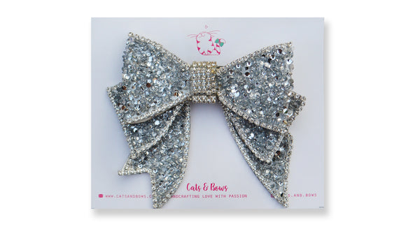 White Galaxy Bejeweled Bow