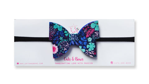 FLutterby Midnight Floral Bow