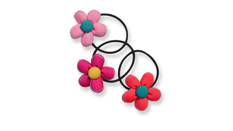 Set of 3 Flower hairties