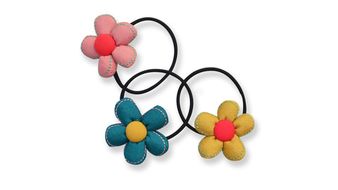 Set of 3 Flower hairtie