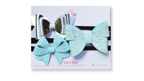 Icy blue Bow Set