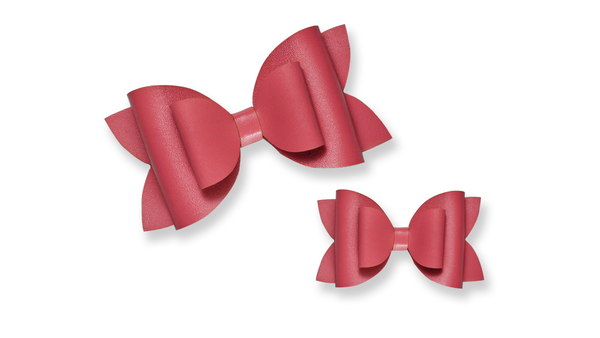 Peachy Pink Leather Bow
