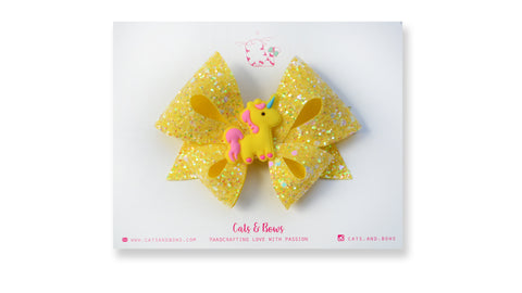 Yellow Unicorn Bow