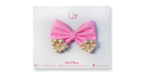 Medium Baby Pink Pearl Bow