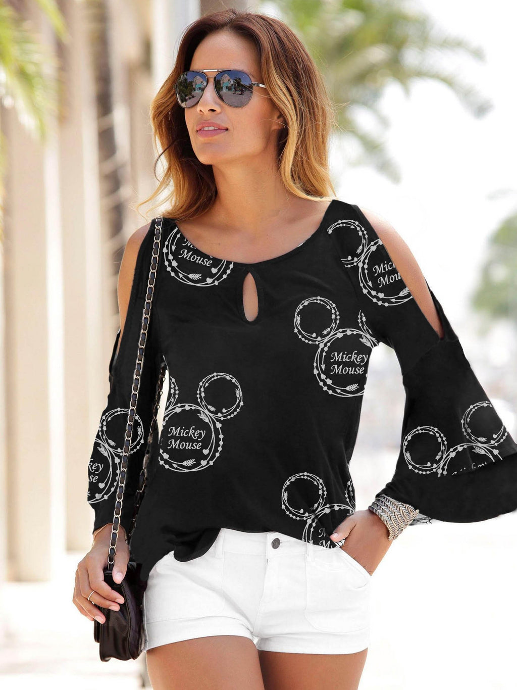 Mickey Mouse Hollow Out Flare Sleeve Shirt