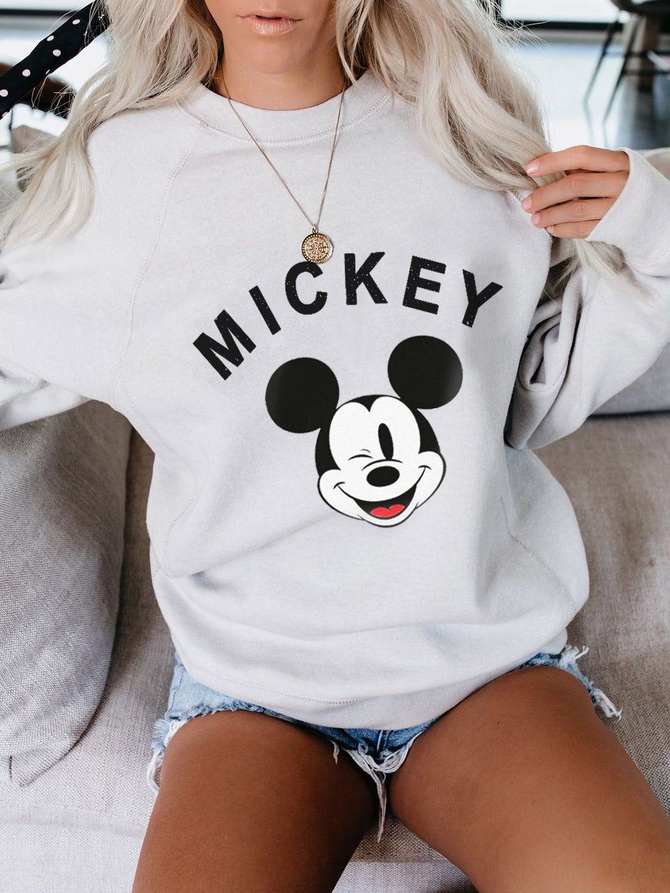 Mickey Mouse Hoodie Wth Round Neck And Long Sleeves