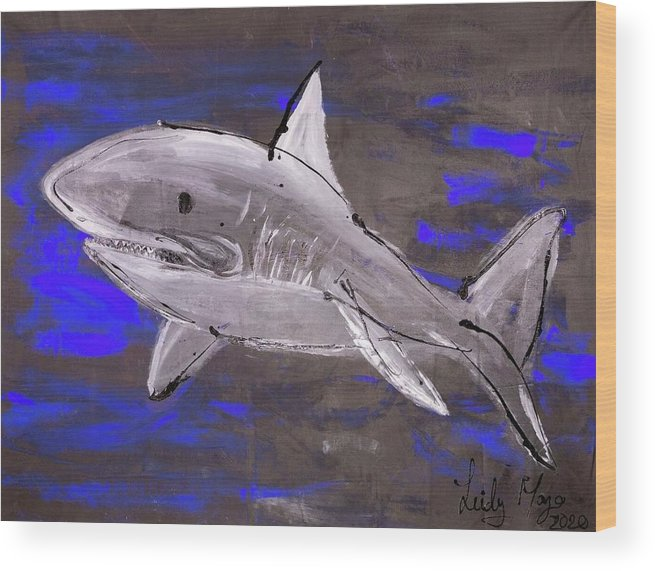 Blue Shark - Wood Print