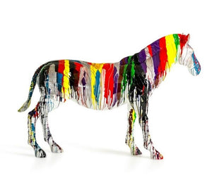 Large Rainbow Horse/Zebra Sculpture