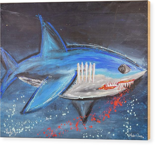 Shark Attack  - Wood Print