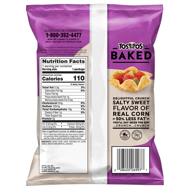 Tostitos Scoops! Baked Tortilla Chips, .875 Ounce Bags (Pack of 72)