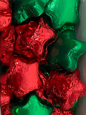 8 oz. Milk Chocolate Foiled Stars-Red & Green