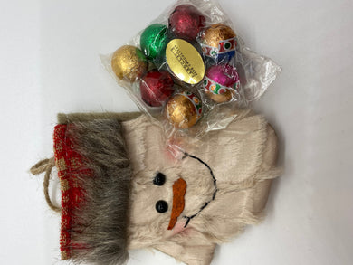 Furry Snowman Stocking with Foiled Milk Chocolate