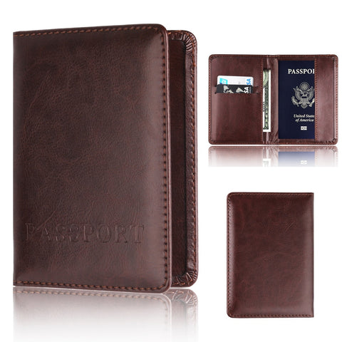 Leather Card & Passport Holder Wallet