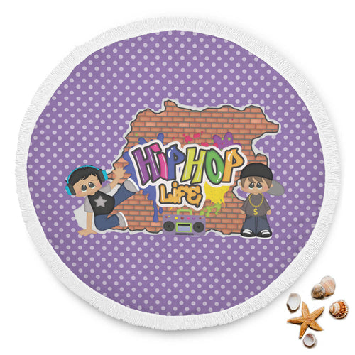 Round Beach Towel - Hip Hop Kids