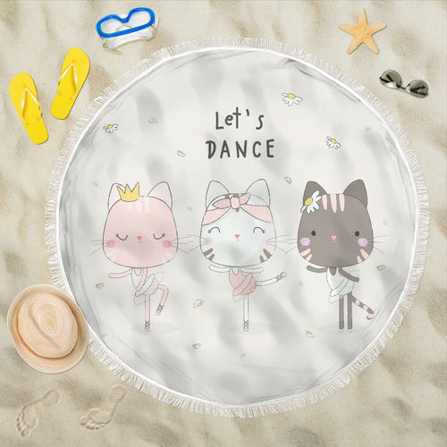 Round Beach Towel - Let's Dance Kitty
