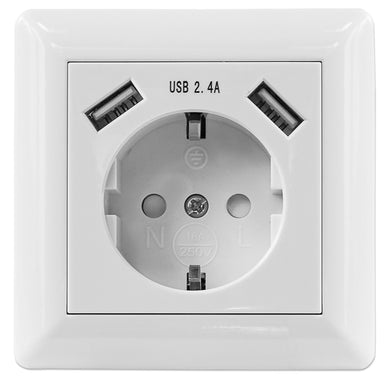 Intellinet 2-Port USB-A Wall Outlet and CEE 7/3 Socket with Faceplate
