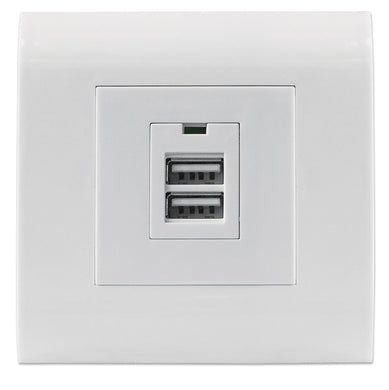 Intellinet 2-Port USB-A Wall Outlet with Faceplate