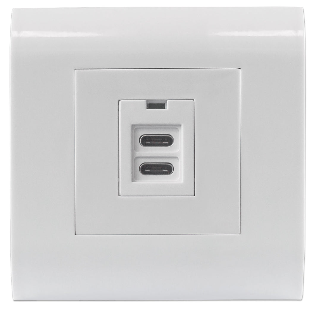 Intellinet 2-Port USB-C Wall Outlet with Faceplate