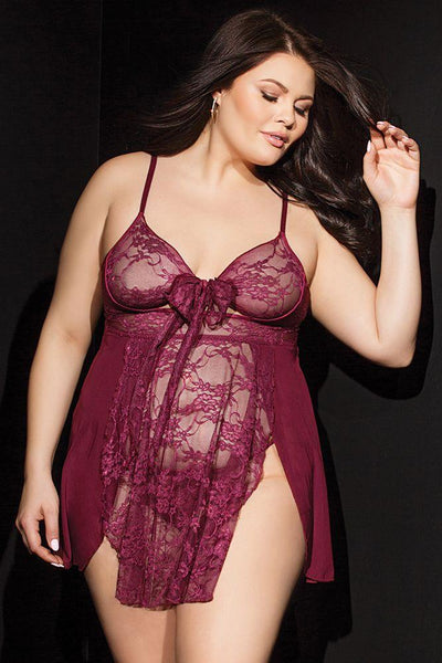 Relay Lace Merlot Babydoll and G-String