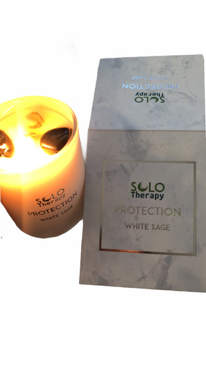 PROTECTION: White Sage Candle with Black Obsidian Crystals / Solo Therapy