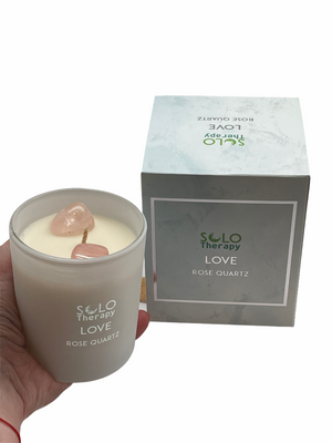 LOVE Candle with 2 Rose Quartz Crystals