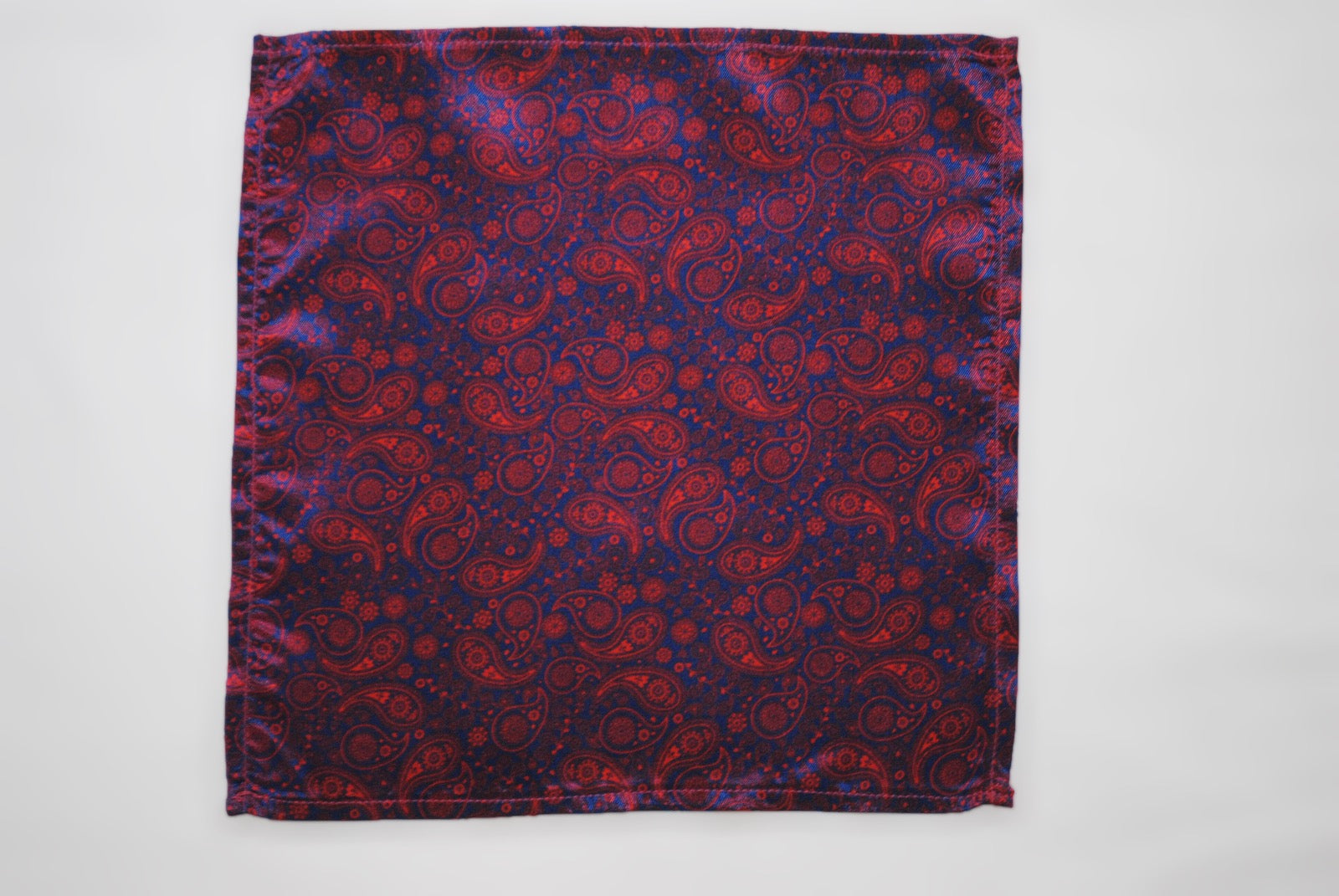 Vegan Pocket Square in Dark Purple Paisley