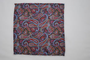 Vegan Pocket Square in Green and Multicoloured Paisley