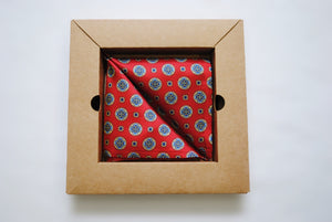 Vegan Pocket Square in Red and Blue Spot