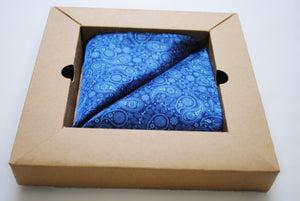 Vegan Pocket Square in Blue Paisley