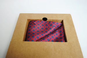 Vegan Pocket Square in Burgundy and Blue