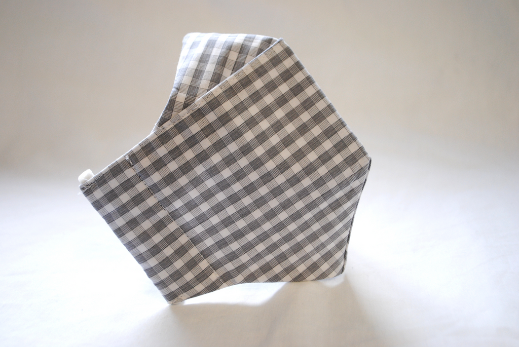 Egyptian Cotton Face Covering in Grey and White Check