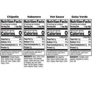Four Bottle Variety Pack Nutrition Fact Image