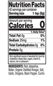 Hot Sauce Nutrition Facts Image