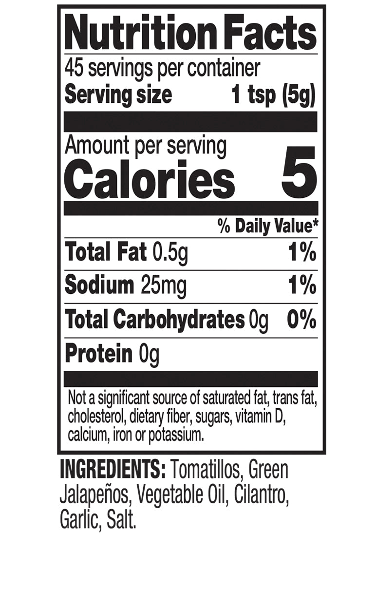Salsa Verde Nutrition Fact Image