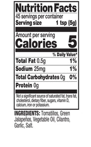 Tia Lupita Salsa Verde Nutrition Facts
