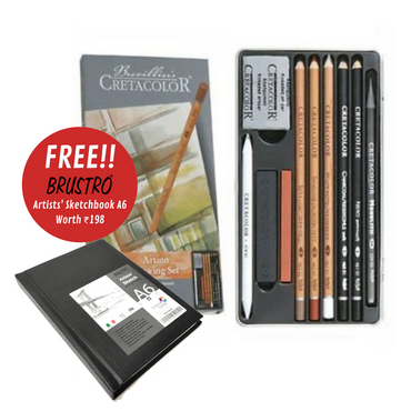 Cretacolor Artino Drawing Set Of 10 (Brustro Sketchbook A6 Stitched Bound Free)