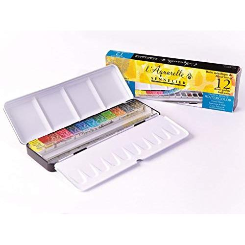 Sennelier Artist Watercolour Half pan Set Sennelier l'Aquarelle 12 Half pan