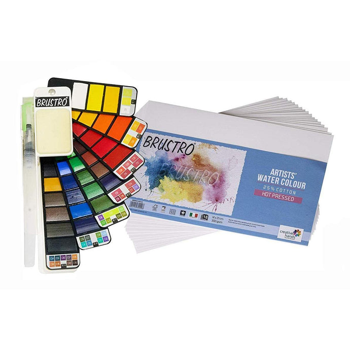 Brustro Artists' Watercolour Pan - Set of 42 ,  ( Free Brustro Watercolour paper 14X21 cm worth Rs. 198 )