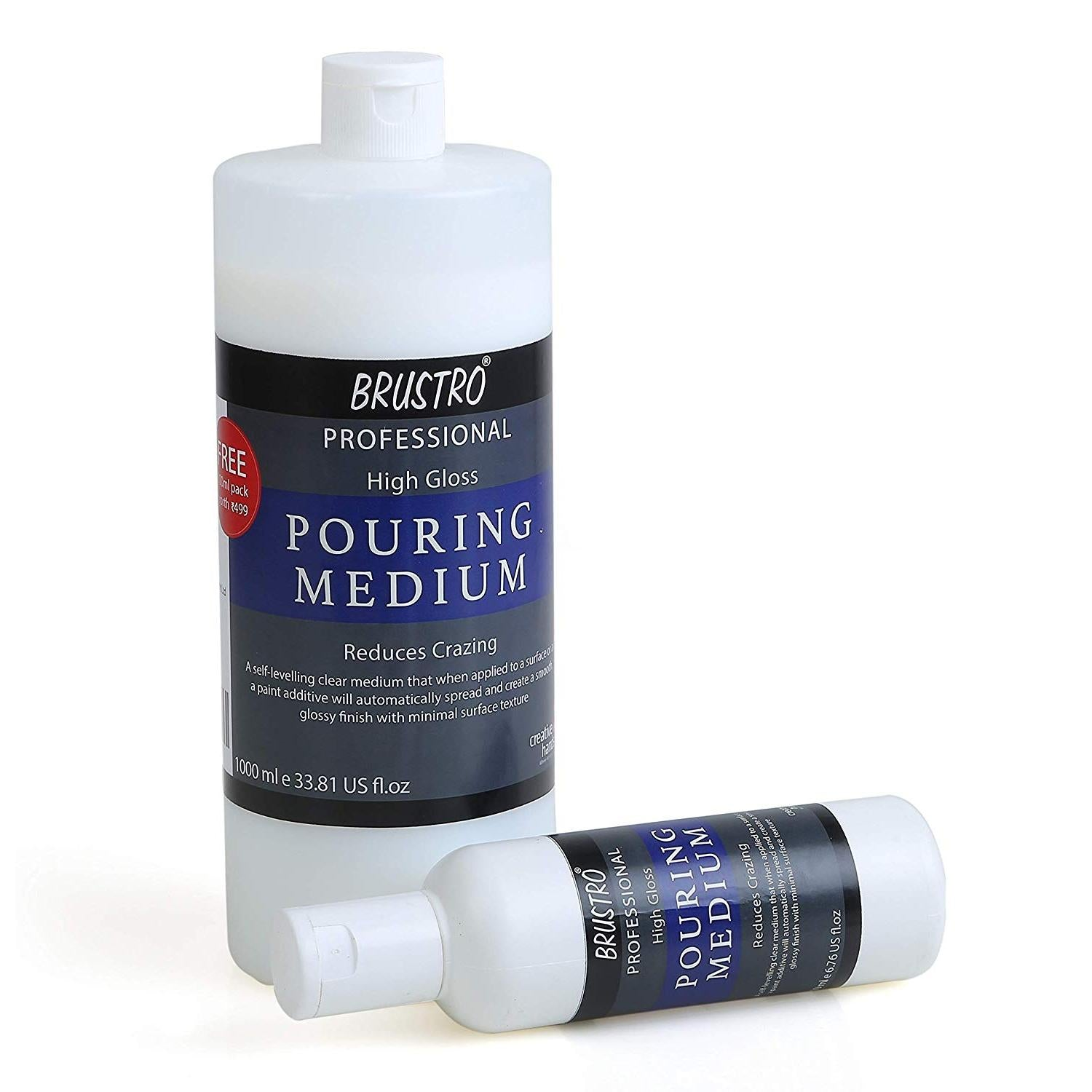 BRUSTRO Pouring Medium 1000 Ml (1 LTR.). Free BRUSTRO Pouring Medium 200 Ml (Worth Rs. 499)