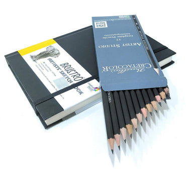 Brustro Stitched Bound A5 Size Artists Sketch Book & Cretacolor Artist Studio Line Graphite Pencil (Pack of 12)