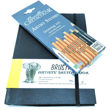 Brustro Stitched Bound Artists Sketch Book, A5 Size, 160 Pages, 110 GSM (Pack of 11) & Cretacolor Artists Studio Drwaing 101 Pencil