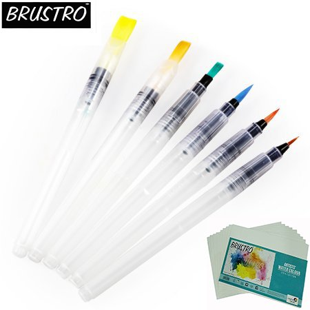 Brustro Aqua Squeeze Leak Proof Watercolor Brush Pen Assorted Set of 6 (3 of Each Flat & Round )