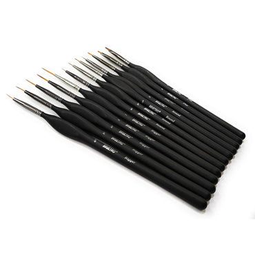 BRUSTRO Artists' Watercolours & Acrylics Miniature Brush Set of 12, with Free Brush Holder.