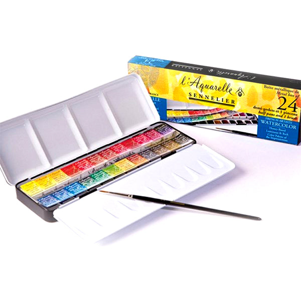 Sennelier Artists' Watercolor Set-24 Half Pan (MRP 6999) + Fabriano Artistico Watercolour Paper CP 300 gsm (MRP 1,305)