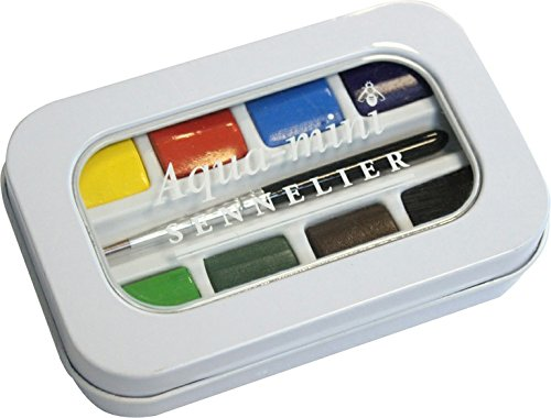 Sennelier l'Aquarelle French Artists' Watercolor Aqua-Mini Set - Metal Box of 8 Half Pans