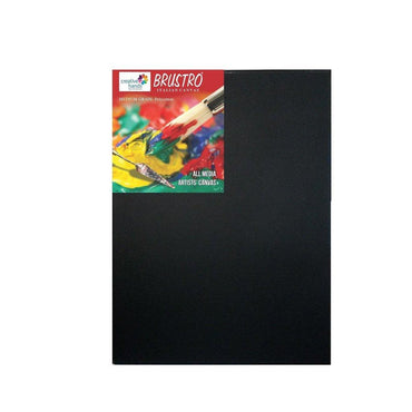 "Try It ! Brustro Stretched Canvas Black Polycotton (12""x16"")"