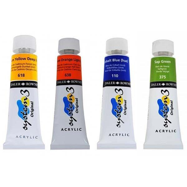 Try It ! Daler Rowney System 3 Acrylics 75ML 2 Tubes (Ultramarine Blue & Cad Red Deep Hue)